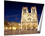 Ashley Giclee Notre Dame De Paris At Sunset Evening View Of The Notre Dame In Paris Evening Fine Art Decoration for kitchen, living room, home office, den or bedroom, ready to frame, 24x30 Print