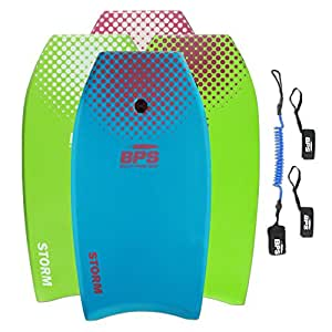 """BPS 33"""" Blue w/Purple Dots Bodyboard with Leash and Fin Tethers (2018)"""