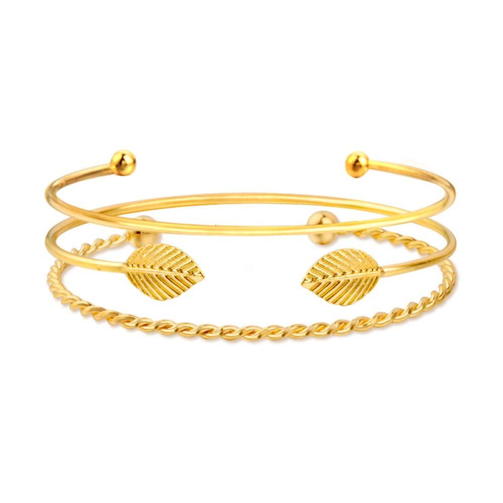 QiLuo Golden Multilayer Bracelet Twisted twisted rope gold bead leaves 3 three piece set simple bracelet leaves pattern