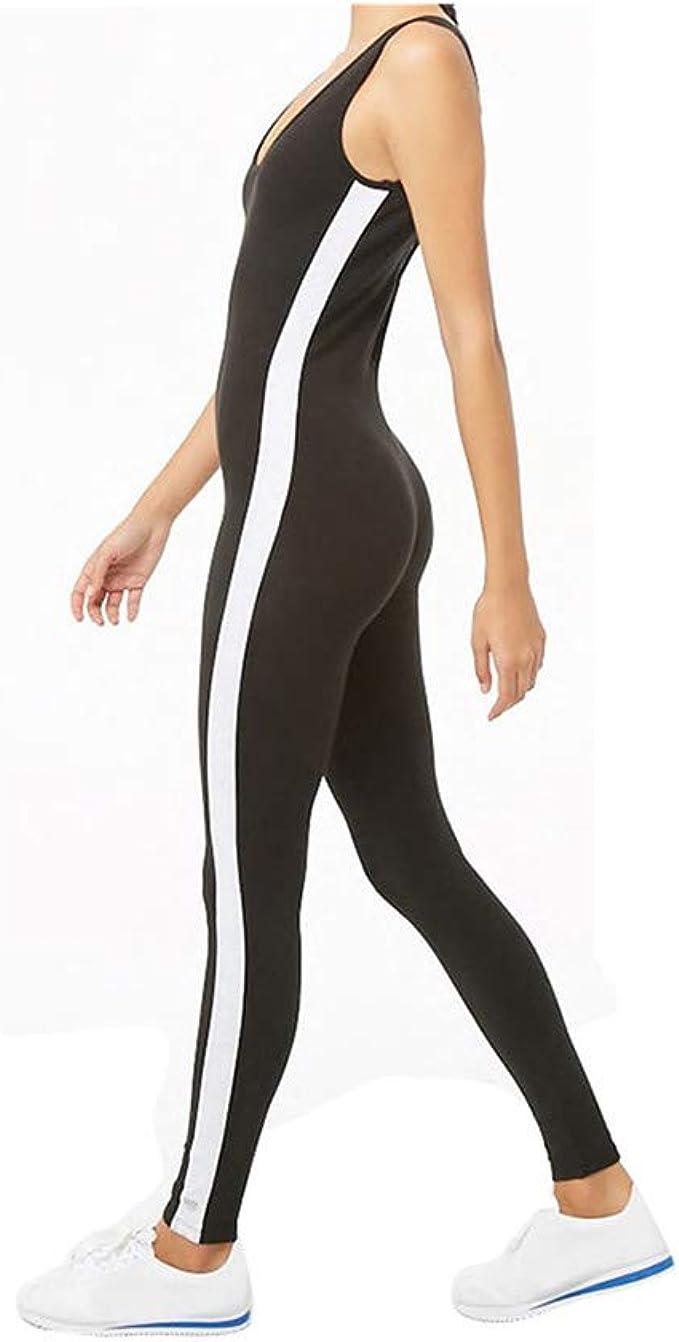 YCQUE Damen Sporthose, Damen Enge, weiße Streifen Mode