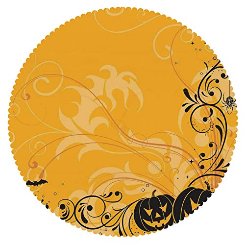 iPrint American Round Tablecloth [ Halloween Decorations,Carved Pumpkins with Floral Patterns Bats and Webs Horror Artwork,Orange Black ] Decorative Tablecloth -