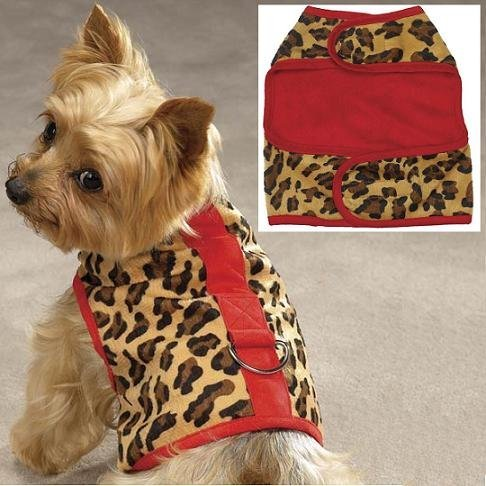 Zack & Zoey Red Leopard Faux Fur Safari Dog Harness Walking Vest Medium