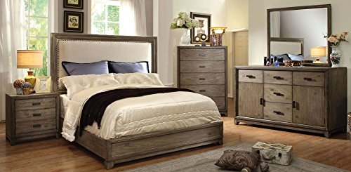 - New Transitional Natural Ash Finish Platform Bed Eastern King Size Bed Dresser Mirror Nightstand 4pc Set Linen Like Fabric HB Solid Wood Bedroom