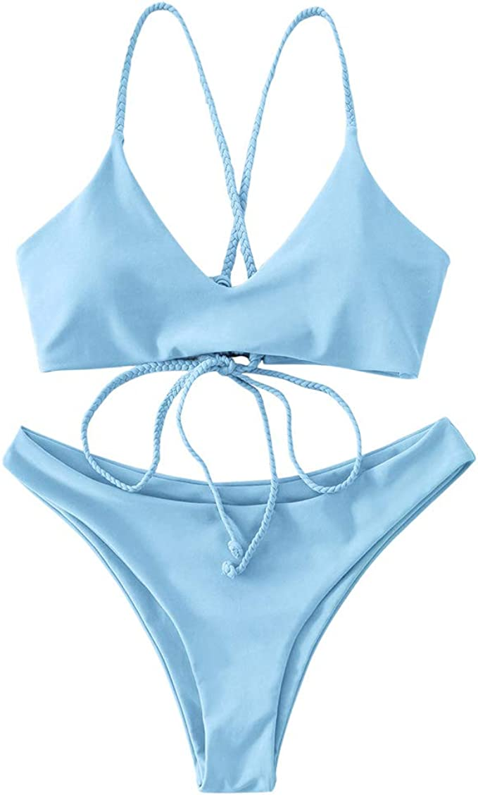 ZAFUL Costume da Bagno per Donna Push up Set Bikini Imbottito con Perizoma Imbottito