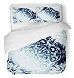 Emvency 3 Piece Duvet Cover Set Breathable Brushed Microfiber Fabric Cold Blue Indian Floral Circle with Tribal Traditional Luxury Christmas Frozen Bedding Set with 2 Pillow Covers Twin Size