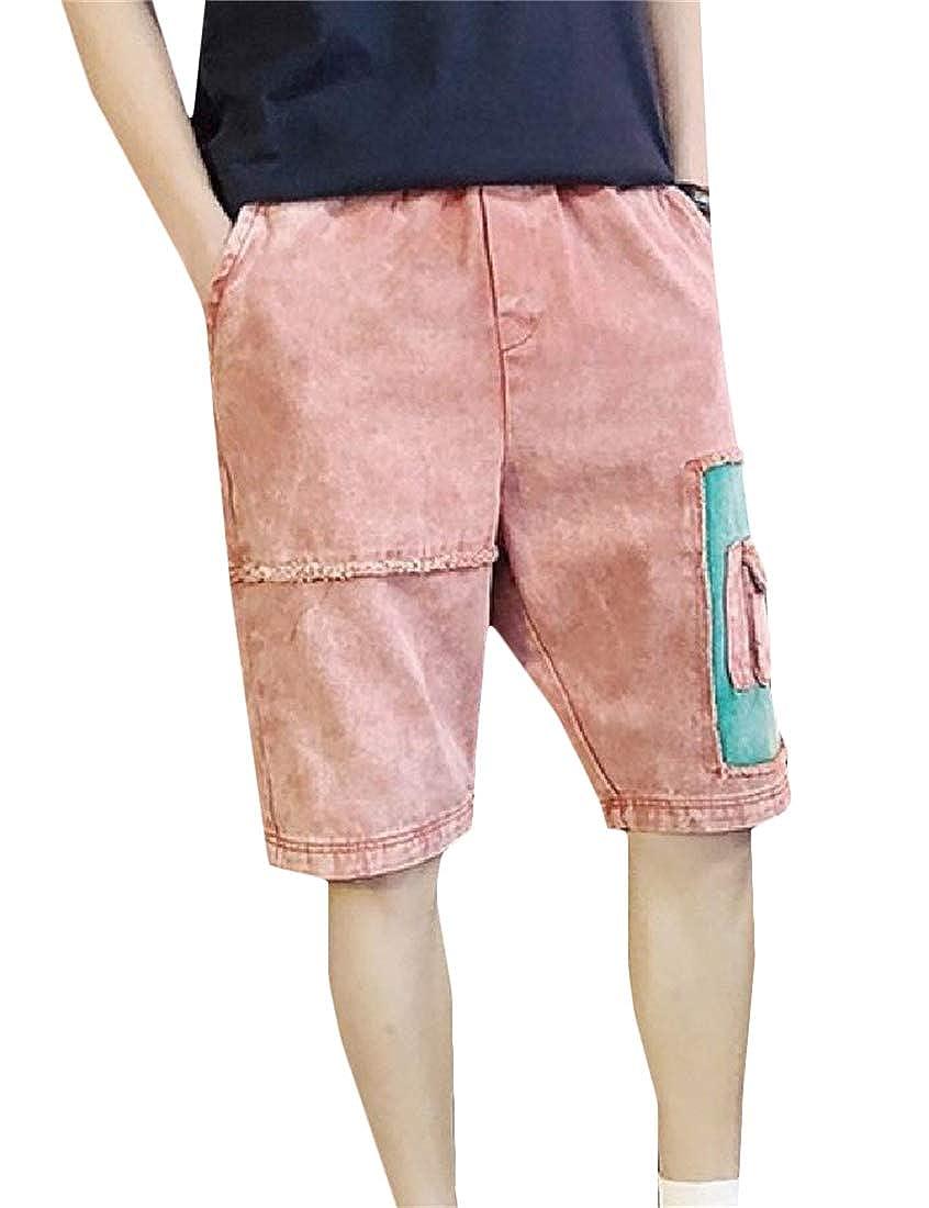 Hajotrawa Mens Jeans Multi-Pocket Cargo Loose Mid Rise Denim Pants