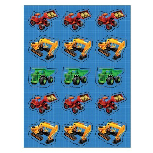 Children's Construction Vehicle Stickers - 4 Sheets, 1