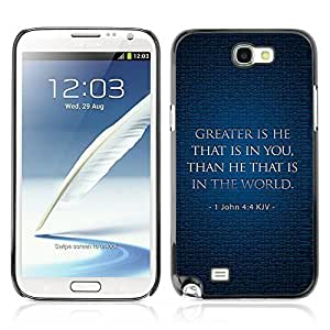 Hard Case or Cover for Samsung Galaxy Note 2 KJV GREATER IS HE glassover for iphone cover for iphone for women