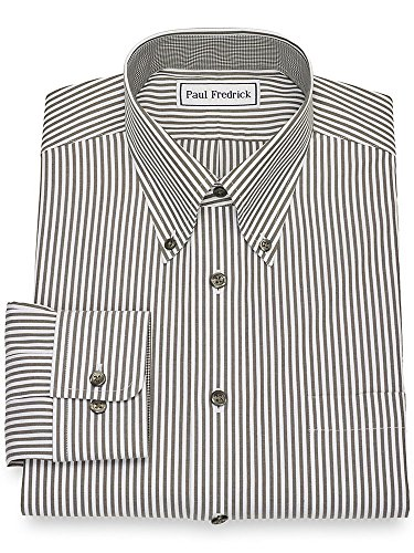 Paul Fredrick Men's Non-Iron Cotton Bengal Stripe Button Cuff Dress Shirt Hunter 16.5/32