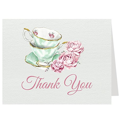 (Tea Party Thank You Cards Bridal Shower Folding Notes Thanks Wedding Party Pink Mint Blush Elegant Chic Vintage Tea Cups Victorian (50 count))