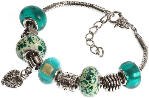 Mother's Charm Bracelet with Removable Pandora Compatible Italian Murano Glass Beads for Moms in Green, 7