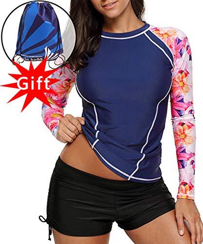 CHARMCZ 2 Pcs Women's Rash Guard Long Sleeve Swimsuit UV Sun Protection Tankini Prime Deals Athletic Cover up S-XXXL -