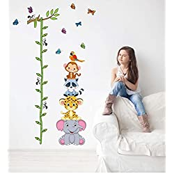 JD Million shop Cute tiger animals stack height measure wall stickers decal kids adhesive vinyl wallpaper mural baby girl boy room nursery decor