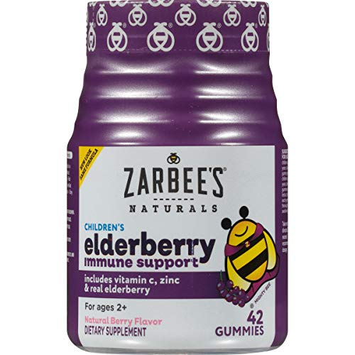Zarbee's Naturals Children's Elderberry Immune Support* Gummies with Vitamin C, Zinc, Natural Berry Flavor, 42 Count (Things That Start With D For Preschool)
