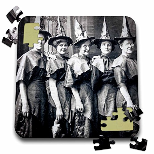Scenes from the Past Ephemera - Vintage Halloween Witches Coven Early 1900s Scary - 10x10 Inch Puzzle -