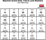 Machine Screw Nut, Flat & Lock Washer Hardware Kit - Metal Tray Box, Steel Zinc