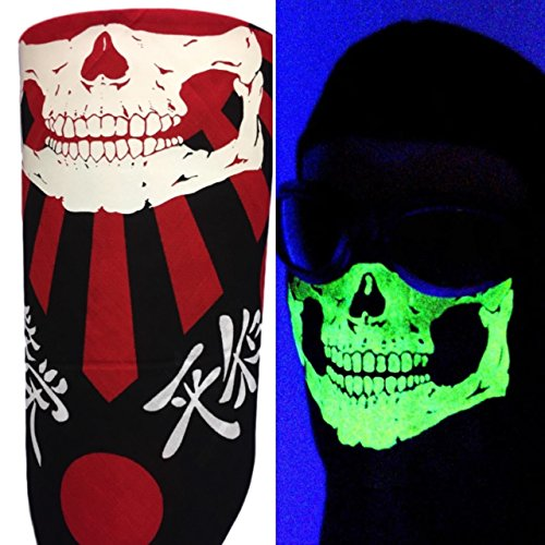 Japanese Flag Glow In The Dark No Fangs VELCRO®Brand Adjustable Black Red (Red Bandana Halloween Ideas)