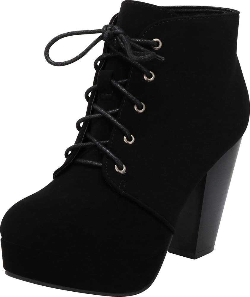 Cambridge Select Women's Lace-Up Platform Chunky Stacked Heel Ankle Bootie (7 B(M) US, Black NBPU)
