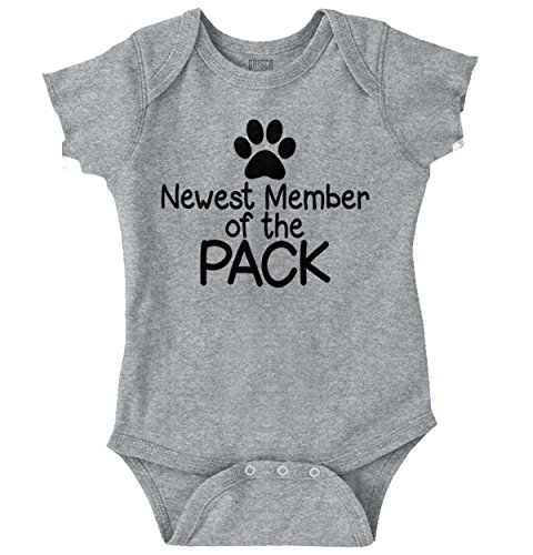 Brisco Brands New Member Pack Funny Shirt Cute Sarcastic Newborn Gift Idea Romper Bodysuit (Infant Puppy)