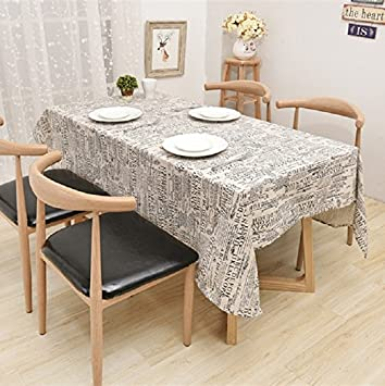Cotton Linen Printed Tablecloth With English Newspaper Pattern, Machine  Washable, Holiday, Dinner Solid