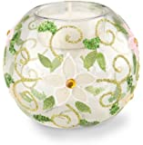 Boston International October Hill Flowers Hand Painted Tealight Candle Holder