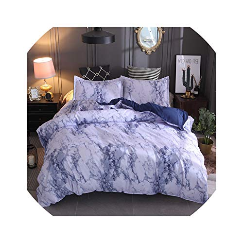(Bedspreads Marble Bedding Set Purple/White/Black/Coffee/Blue Duvet Cover Twin Double Queen Quilt Cover Bed Linen (No Sheet No Filling),Blue,Au)