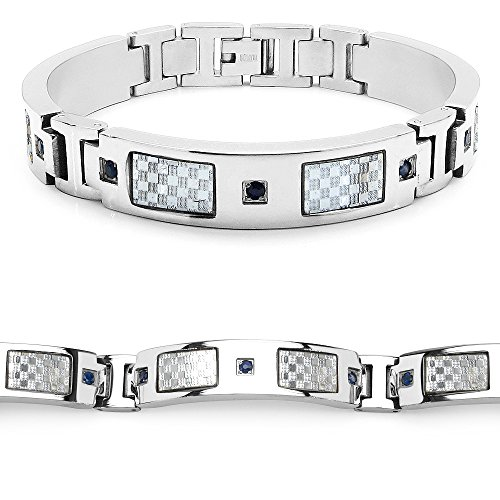 Mason Dunn Blue Sapphire Titanium Bracelet with Silver Plated Steel Inlay by Mason Dunn