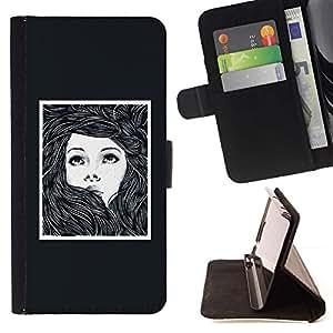 Momo Phone Case / Flip Funda de Cuero Case Cover - Marco Chica Mujer Cartel Dibujo - LG G4c Curve H522Y (G4 MINI), NOT FOR LG G4