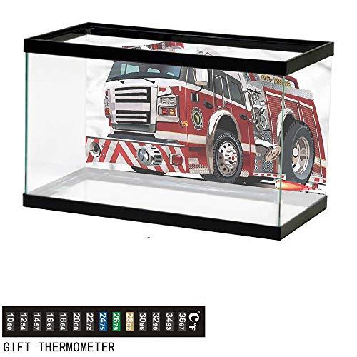 bybyhome Fish Tank Backdrop Fire Truck,Rescue Department Car,Aquarium Background,48