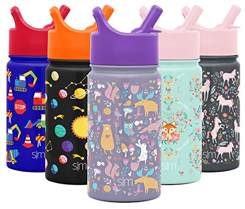 Simple Modern 14oz Summit Kids Water Bottle Thermos with Straw Lid - Dishwasher Safe Vacuum Insulated Double Wall Tumbler Travel Cup 18/8 Stainless Steel -Woodland Friends