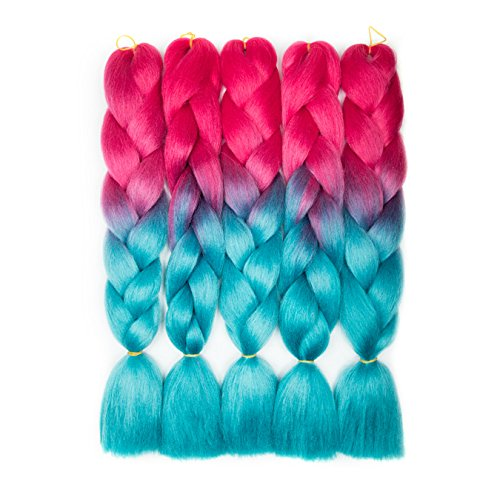 Alissa Synthetic Ombre Jumbo Braiding Hair 5bundles/Lot 500g Kanekalon Fiber Hair With One Free Crochet Hook Peach Red-Lake Blue