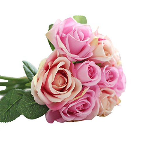 Wensltd 9pcs Artificial Silk Real Touch Rose Flowers For wedding And Home Design Bouquet (pink)