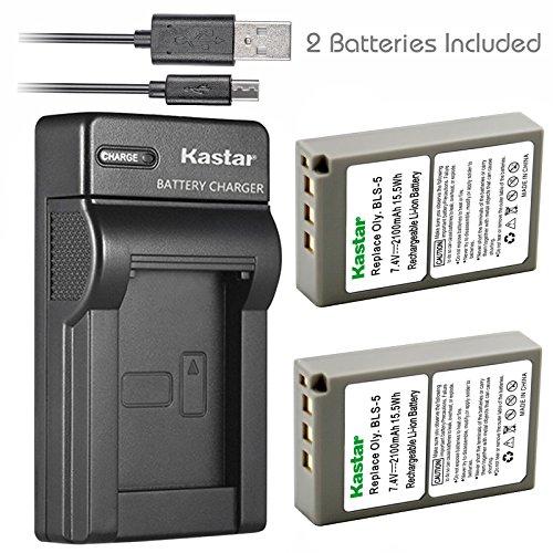 Kastar Battery (X2) & Slim USB Charger for Olympus BLS-5, PS-BLS5 and Olympus OM-D E-400 E-410 E-420 E-450 E-600 E-620 E-P1 E-P2 E-P3 E-PL1 E-PL2 E-PLE15 E-PM1 E-PM2 E-M10 E-PL6 E-PL5 stylus 1 Camera by Kastar