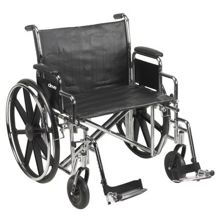 McKesson Heavy-Duty Wheelchair with Swing Away Footrests - 24-Inch Seat Width - 1 Each / Each - 24334201
