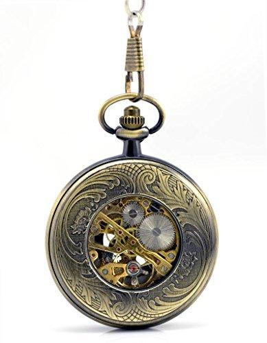 Stayoung Steampunk Antiguo Estilo Egipcio Números Romanos Cuerda Manual Reloj de Bolsillo Mecánico Colgante Cadena 12