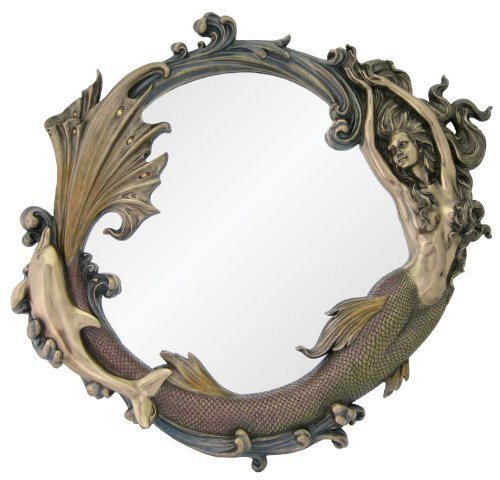 Large Art Nouveau Nautical Mirror - Mermaid Playing w/ Dolphin