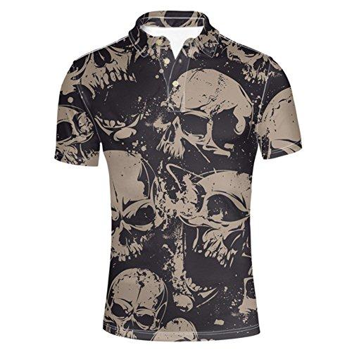HUGS IDEA Skull Head Vintage Short Sleevees Modern Golf Polos Shirt 3 Button T-Shirts Tees for ()