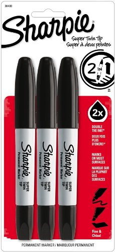 Sharpie Super Twin Tip Fine Point and Chisel Tip Permanent Markers, 3 Black Markers(36403)