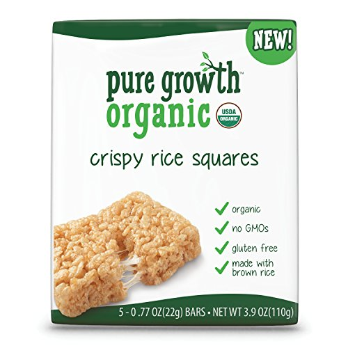 Pure Growth Organic, Crispy Rice Squares, 3.9 Ounces (Pack of 6) Pure Rice