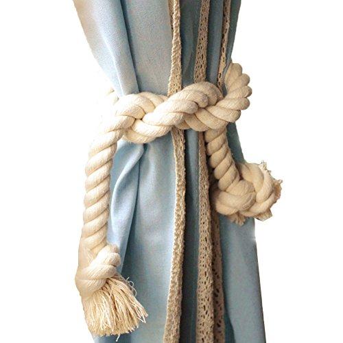 Vintage Rope - LAOZHOU 2 Pieces Cotton Curtain Rope Holdback-Handmade Curtain Decorative Tiebacks Vintage Style Drapery Tieback (Cotton Rope Holdbacks)
