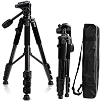 Camera Tripod 57, Professional 1/4 Aluminum Camera Tripod Stand, Travel Camera Tripod for DSLR Camcorder Canon Sony Nikon Olympus with Carry Bag -8.8 lbs(4kg) Load (Black)