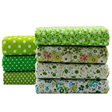 Green Series Floral Cotton Fabric Quilting DIY Crafts Patchwork Fabric Fat Quarter Bundles Fabric For Sewing DIY Crafts Handmade Bags Pillows 50X50cm 7pcs/lot (Green)
