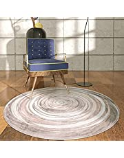 YYSD ins Round Area Rugs 2ft Mandala Boho Small Throw Rugs Non-Slip Soft Velvet Black and Beige Distressed Floor Carpet for Bedroom Living Room Bathroom Decor