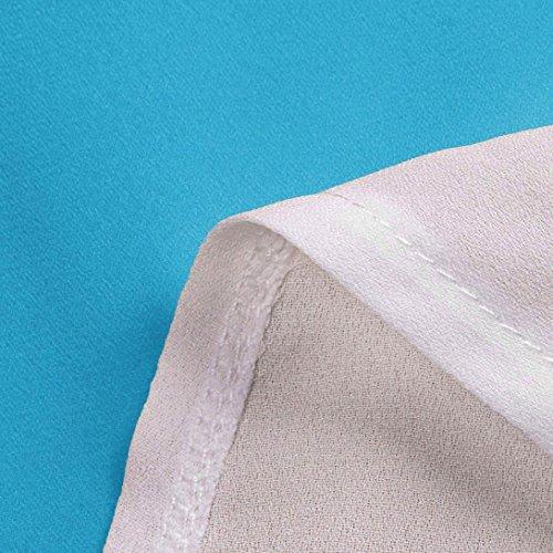 Donna Primavera Estivi Strisce Blu Manica Casual Elegante Maniche Eleganti a Top Camicetta Corta Pullover Camicie Manica Block KOLY Color Casual Camicie Maglietta Top Chiffon Vintage fwxtHq4