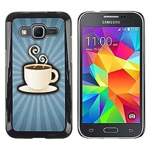 TopCaseStore / la caja del caucho duro de la cubierta de protección de la piel - Coffee Cup Mug Steaming Drink Caffeine Art - Samsung Galaxy Core Prime SM-G360