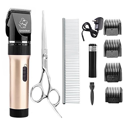 Sminiker Professional Low Noise Rechargeable Cordless Cat and Dog Clippers - Professional Pet Clippers Grooming Kit,animal clippers Pet Grooming Kit(Gold)