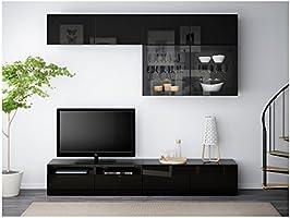 Zigzag Trading Ltd IKEA BESTA - almacenaje de la TV Puertas combinación/de Vidrio Negro-marrón/selsviken Alto Brillo/de Vidrio Transparente Negro: Amazon.es: Hogar
