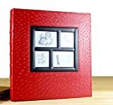 LJ&L High-capacity artificial leather frame cover album, can hold 400 6-inch photos, four windows can be replaced photos, children's growth records and anniversary gifts,A2