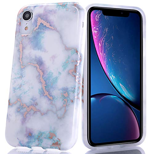 BAISRKE Shiny Rose Gold White Colorful Marble Design Slim Flexible Soft Silicone Bumper Shockproof Gel TPU Rubber Glossy Skin Cover Phone Case for iPhone XR 6.1 inch (2018)