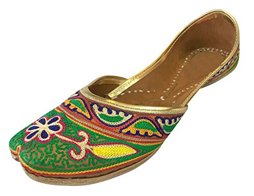 Step n Style Women Khusa Genuine Leather Sandal Indian Traditional Jutti Khussa Shoe Multicoloured